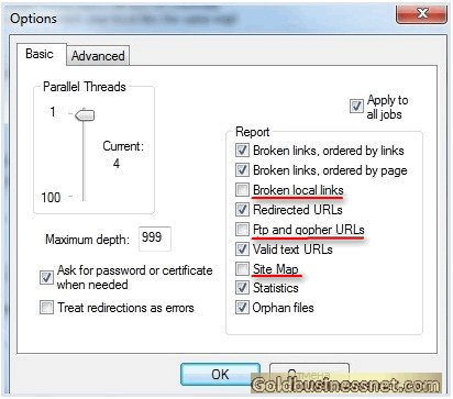 Дополнительные настройки программы Xenu's Link Sleuth