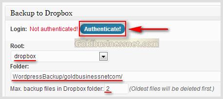 Аутентификация плагина BackWPup с облачным сервисом Dropbox