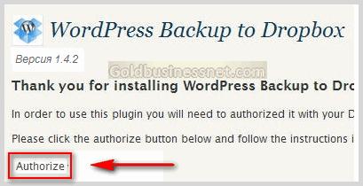 Авторизация плагина WP Backup to Dropbox