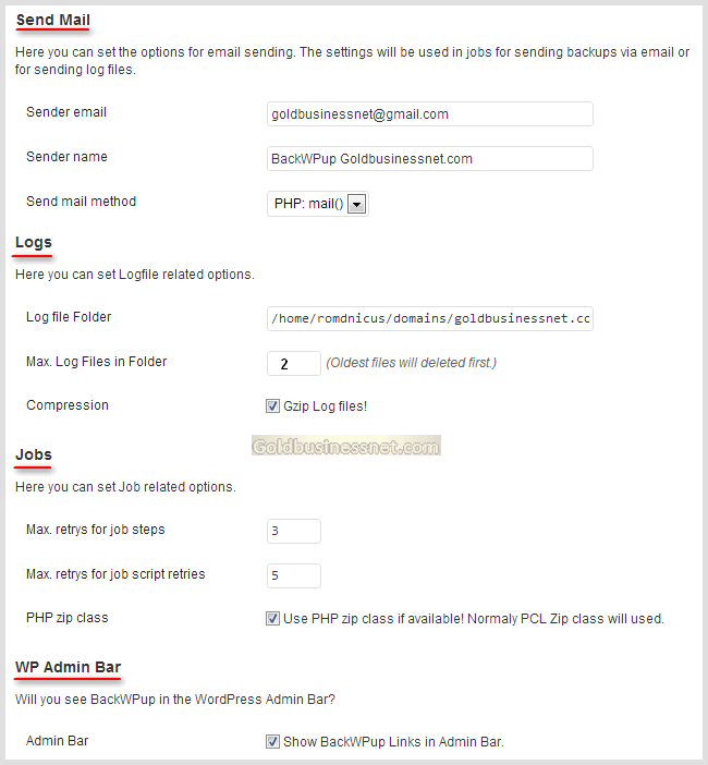 Основные настройки во вкладке «Settings» плагина BackWPup