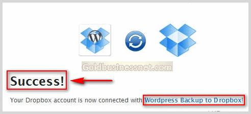 Информация об удачном соединении с облачным сервисом Dropbox