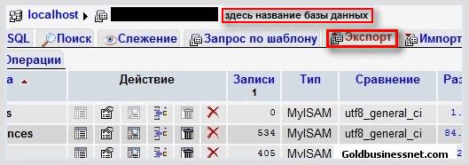 Бэкап базы данных сайта в программе phpMyAdmin