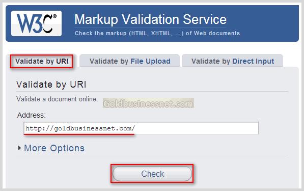 Форма ввода url проверяемого html документа на странице W3C