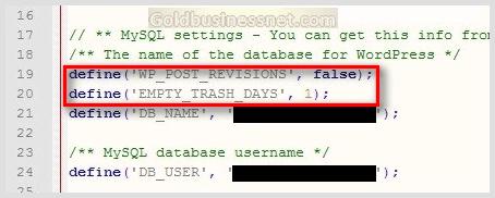 Код удаления ревизий в файле config.php блога WordPress