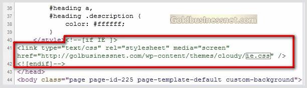 Условный комментарий в коде страницы при использовании хака для браузера IE