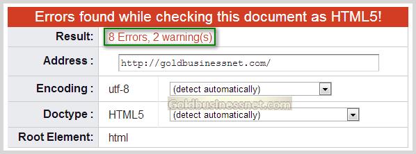Результат проверки валидности html кода в сервисе W3C validator