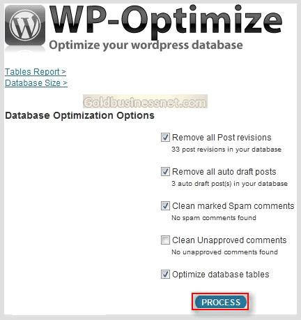 Настройки плагина WP-Optimize в админ панели WordPress
