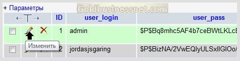 Переход к редактированию логина и пароля в панели phpMyAdmin