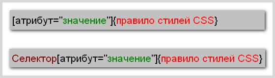 Синтаксис написания правила CSS для селектора атрибута со значением