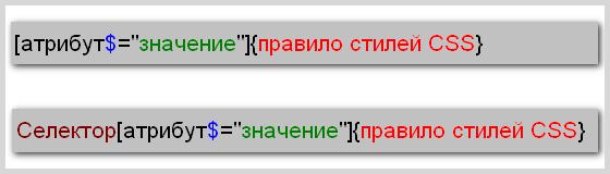 Синтаксис написания правила CSS для селектора атрибута, значение которого заканчивается определенным текстом