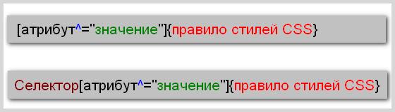 Синтаксис написания правила CSS, когда значение атрибута начинается с определенного текста