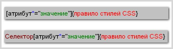 Синтаксис написания правила CSS для селектора атрибута, значение которого содержит указанный текст
