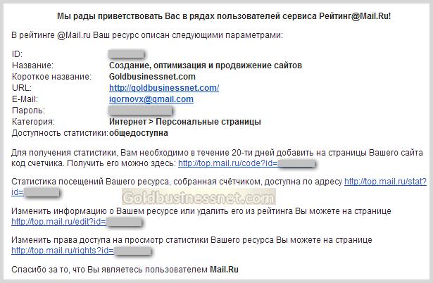 письмо от TOP Mail.ru