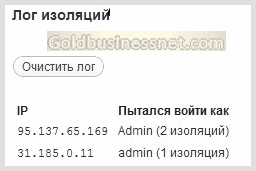 Лог изоляций по IP-адресам Limit Login Attempts в админ панели WordPress