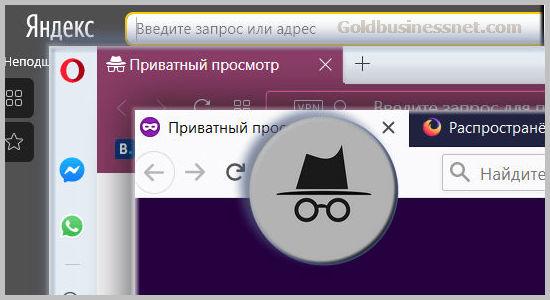Понятие инкогнито и приватный режим в браузрах